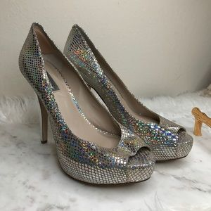 Inc Holographic Peep Toe Heels✨